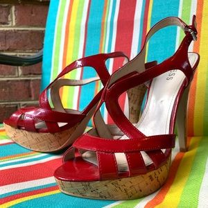 GUESS red cork heels